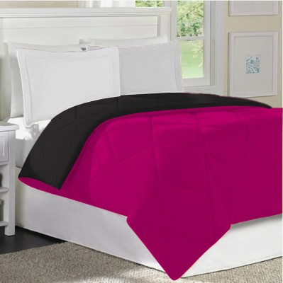 Home Bee USA Plain Single Quilts & Comforters Pink Black