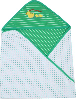 Lula Embroidered Crib Hooded Baby Blanket Green Stripes