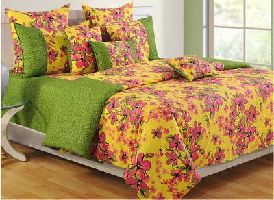 Swayam Floral Double Quilts & Comforters Green, Pink, Yellow