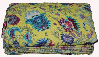 Rajcrafts Floral Double Blanket Yellow