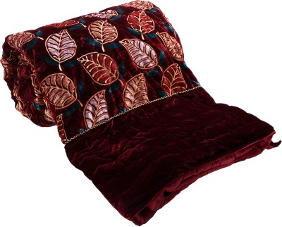 Ayushi Craft & Fashions Floral Double Quilts & Comforters Maroon, Brown