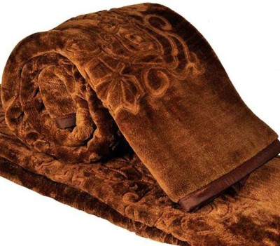 Youngman Floral Double Blanket Brown