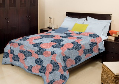 Bombay Dyeing Floral Double Blanket Light Blue