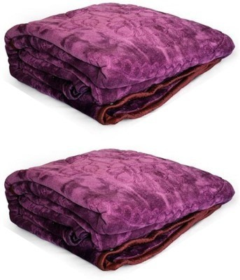 Guru Kirpa Textiles Plain Double Blanket Purple