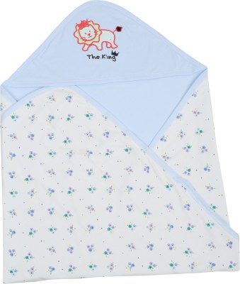 Lula Embroidered Crib Hooded Baby Blanket Skyblue floral
