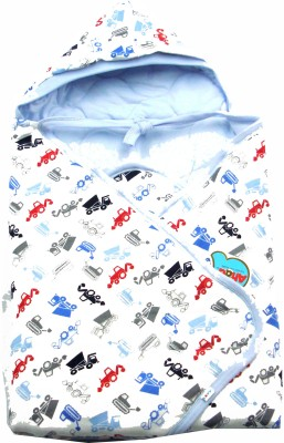 Ahad Printed Single Hooded Baby Blanket Light Blue