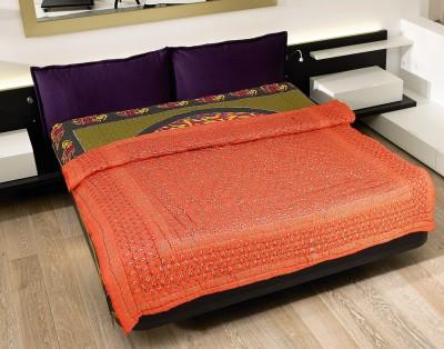Rajasthan Craft Plaza Plain Double Dohar Orange, Silver, Black