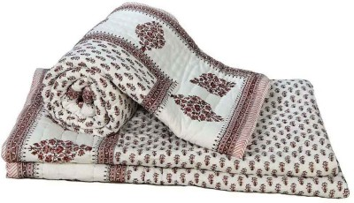 Little India Floral Single Quilts & Comforters Brown
