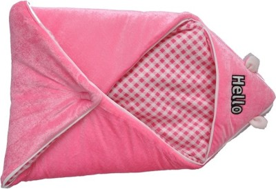 Silver Stone Checkered Single Hooded Baby Blanket Pink
