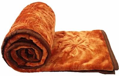 Golden Self Design Double Blanket Brown