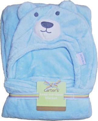 Carters Self Design Single Hooded Baby Blanket Blue