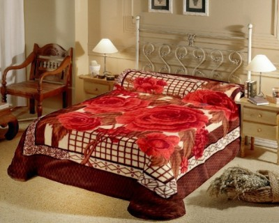 Raymond Home Floral Double Blanket Brown