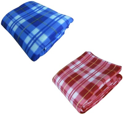 Pasricha Handlooms Checkered Double Blanket Pink, Blue