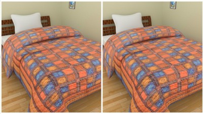 Shra Abstract Single Quilts & Comforters Orange