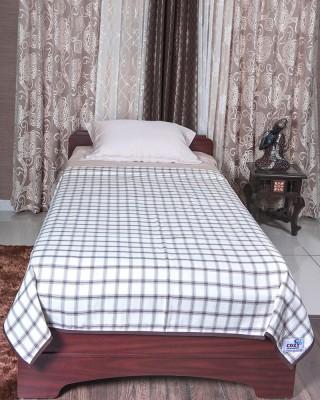 Cozy Sleeeeeep Checkered Single Dohar White & Brown