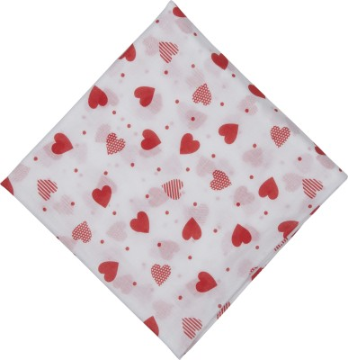 brotherbaby Motifs Single Swadding Baby Blanket white with red