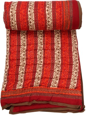 Chhipa Prints Paisley Double Quilts & Comforters Red