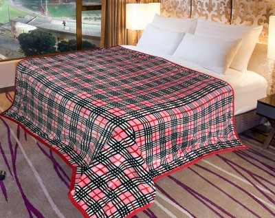 Coverlet Checkered Double Blanket Pink