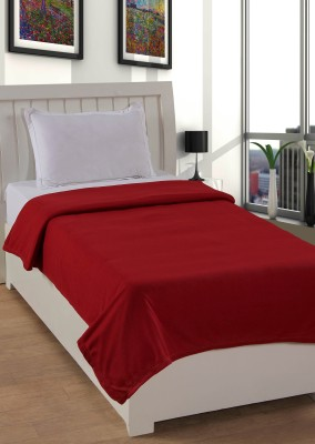 Pranaya Collections Plain Single Blanket Red