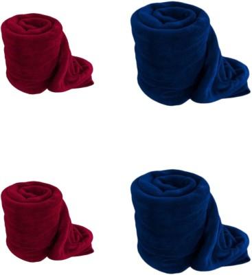 Saksham Plain Single Blanket Red, Blue
