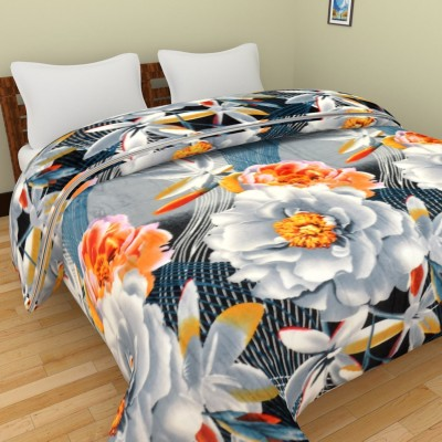 Spangle Floral Double Blanket, Top Sheet Grey