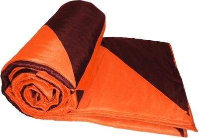 Zikrak Exim Striped Single Quilts & Comforters Brown, Orange