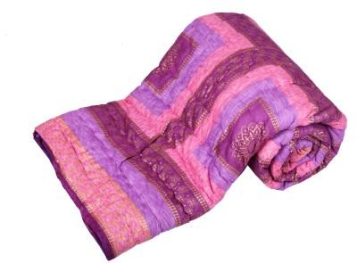 Jaipurtextilehub Checkered Double Quilts & Comforters Purple