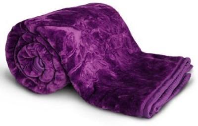 NK Handlooms Plain Double Blanket Blue