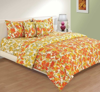 House This Floral Double Dohar Orange, Yellow