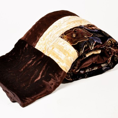 Kusum Creations Floral Single Blanket Brown