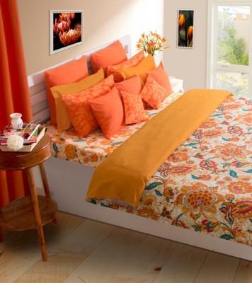 House This Floral Double Dohar Orange