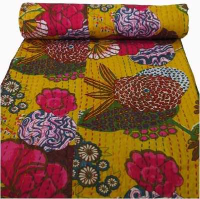 HAG Art and Craft Floral Single Quilts & Comforters Yellow