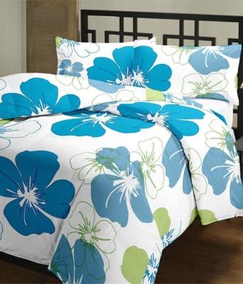 Blanket Zone Floral Single Dohar White, Blue
