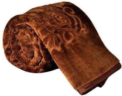 Saksham Floral Double Blanket Brown