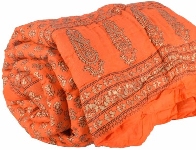 DFR Floral Single Quilts & Comforters Orange