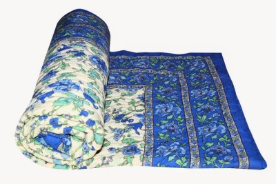 Buy Clues Floral Single Quilts & Comforters Blue