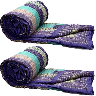 KRG ENTERPRISES Floral Single Quilts & Comforters Purple and Green