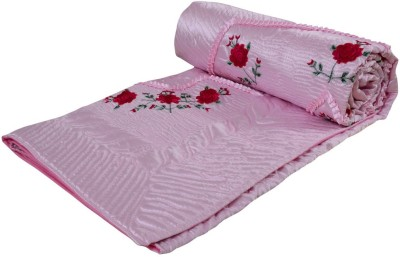 Ooltah Chashma Embroidered Double Quilts & Comforters Pink