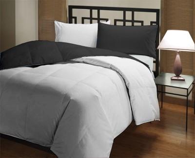 Featherlite Plain Single Duvet Black, White