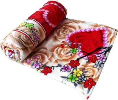 JK Handloom Floral Double Top Sheet Pink