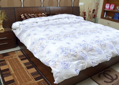Adinath Printed Double Quilts & Comforters White, Blue, Brown