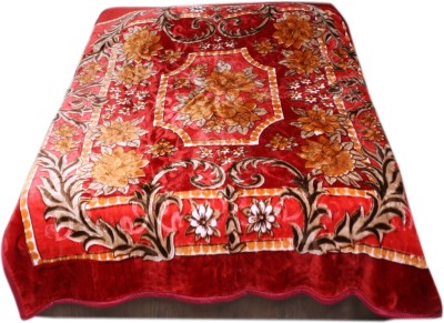 IndiStar Floral Double Blanket Maroon