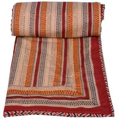 Chhipa Prints Striped Queen Quilts & Comforters Red
