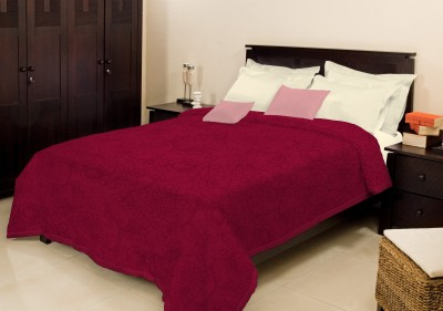 Bombay Dyeing Plain Double Blanket Maroon