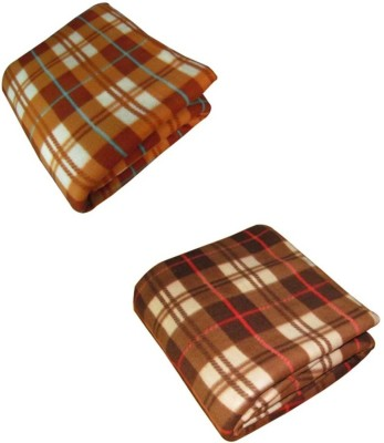 optimistic Home Furnishing Checkered Double Blanket Brown