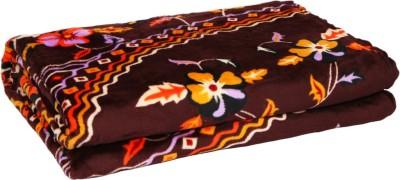 Gujattire Floral Double Blanket Brown