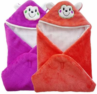 Brandonn Abstract Single Hooded Baby Blanket Purple, Orange
