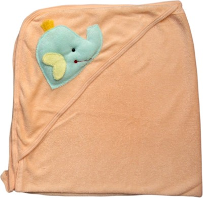 Offspring Embroidered, Plain Single Hooded Baby Blanket Peach
