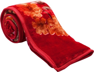 Feel Soft Floral Double Blanket Red, Orange, Yellow