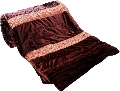 JaipurFabric Embroidered Double Quilts & Comforters Brown